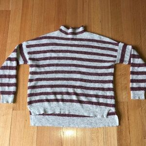 American Eagle Red and Cream Striped Cowlneck